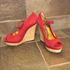 Charles David wedges, size 5, red suede